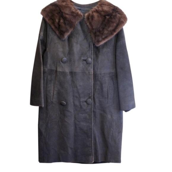 Mr. Sid's Jackets & Blazers - Mr. Sid's Vintage Leather Mink Collar Coat
